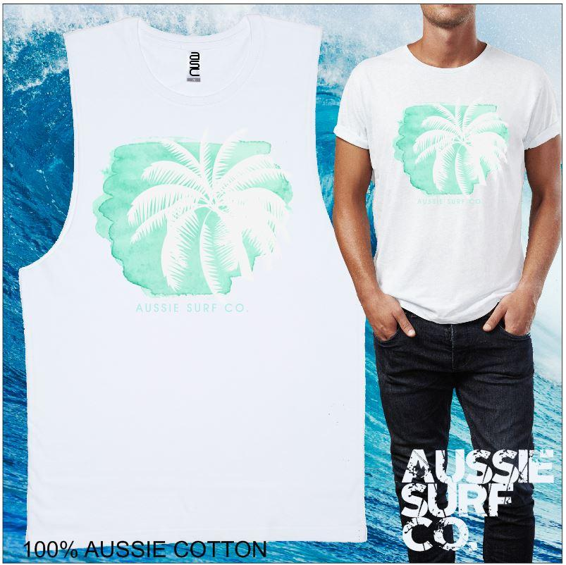 Blue Palm AUSSIE SURF CO Mens T-Shirt or Muscle Tee