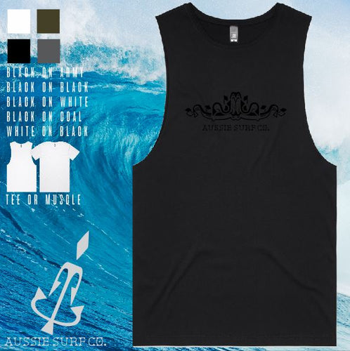 Aussie Surf Co - Muscle or T-Shirt - Scroll - Mens