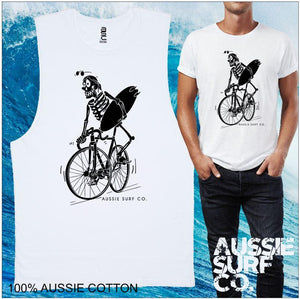 Surf Skeleton AUSSIE SURF CO Mens T-Shirt or Muscle Tee
