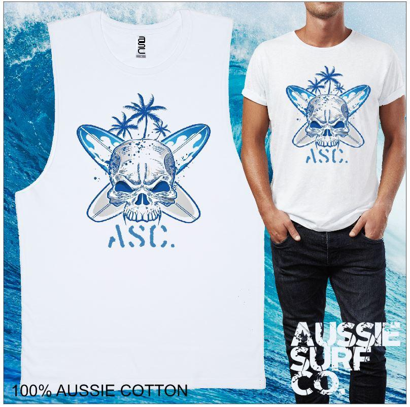 AUSSIE SURF CO Skull Mens T-Shirt or Muscle Tee