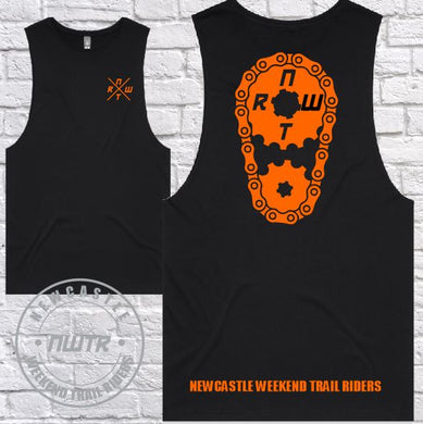 NWTR - Newcastle Weekend Trail Riders - Members Tank - Orange Sprocket  - Black