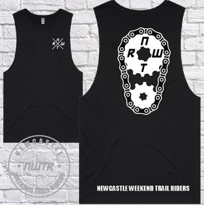 NWTR - Newcastle Weekend Trail Riders - Members Tank - White Sprocket  - Black