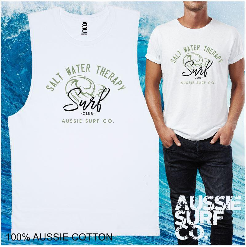 Salt Water Therapy AUSSIE SURF CO Surf Club Mens T-Shirt or Muscle Tee