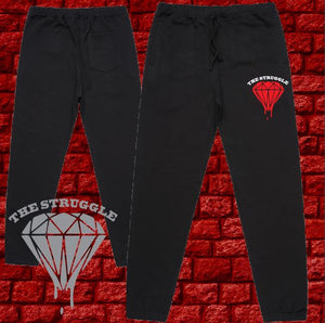 THE STRUGGLE -  Mens or Womens - AS Track Pants - Blood Diamond - Black