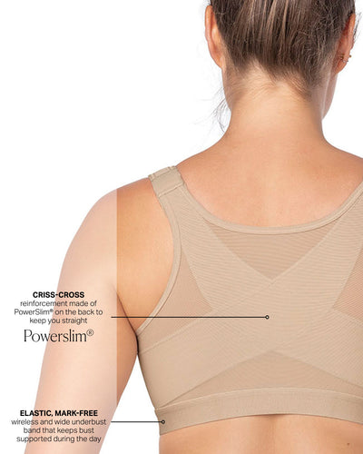 Back Support Posture Corrector Wireless Bra with Adjustable Front Closure