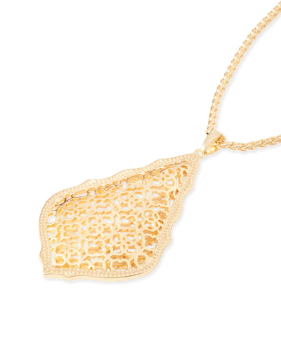 Aiden Gold Long Pendant Necklace In Gold Filigree