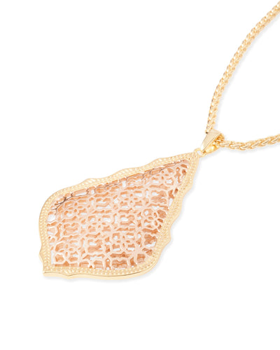 Aiden Gold Long Pendant Necklace In Rose Gold Filigree