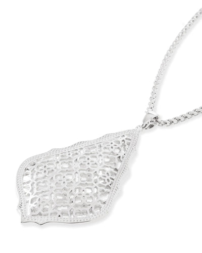 Aiden Rhodium Long Pendant Necklace In Rhodium Filigree