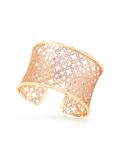 Candice Gold Cuff Bracelet In Rose Gold Filigree