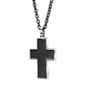 BLACK-IP STAINLESS STEEL BRUSHED CROSS PENDANT