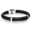 BLACK-ROSE-IP BLACK LEATHER BRACELET