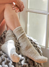 COZYCHIC® HEATHERED WOMEN'S SOCKS - STONE /WHITE