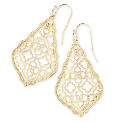 Kendra Scott Addie Gold Drop Earrings In Filigree Mix