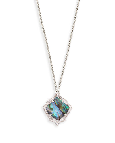 Kacey Silver Long Pendant Necklace In Abalone Shell