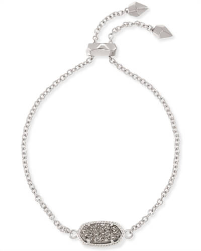 Kendra Scott Elaina Adjustable Chain Bracelet Platinum Drusy