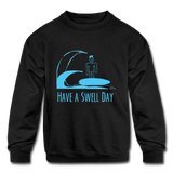 Isaiah's 'Swell' Kids' Crewneck Sweatshirt - black