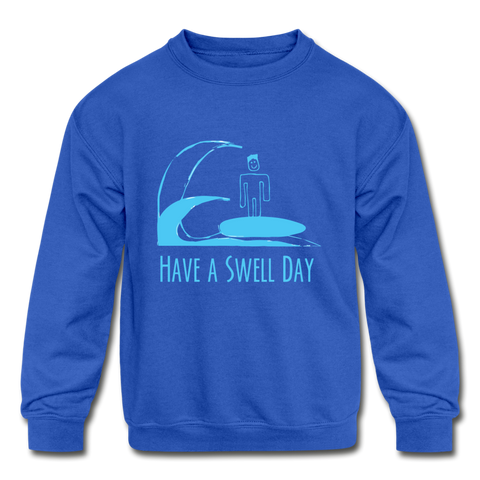 Isaiah's 'Swell' Kids' Crewneck Sweatshirt - royal blue