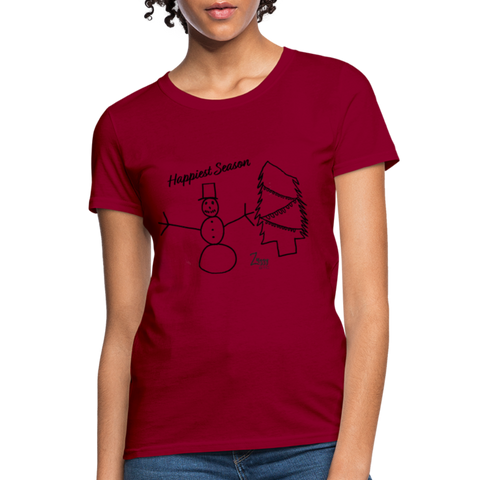 Happiest Season Women's T-Shirt - dark red