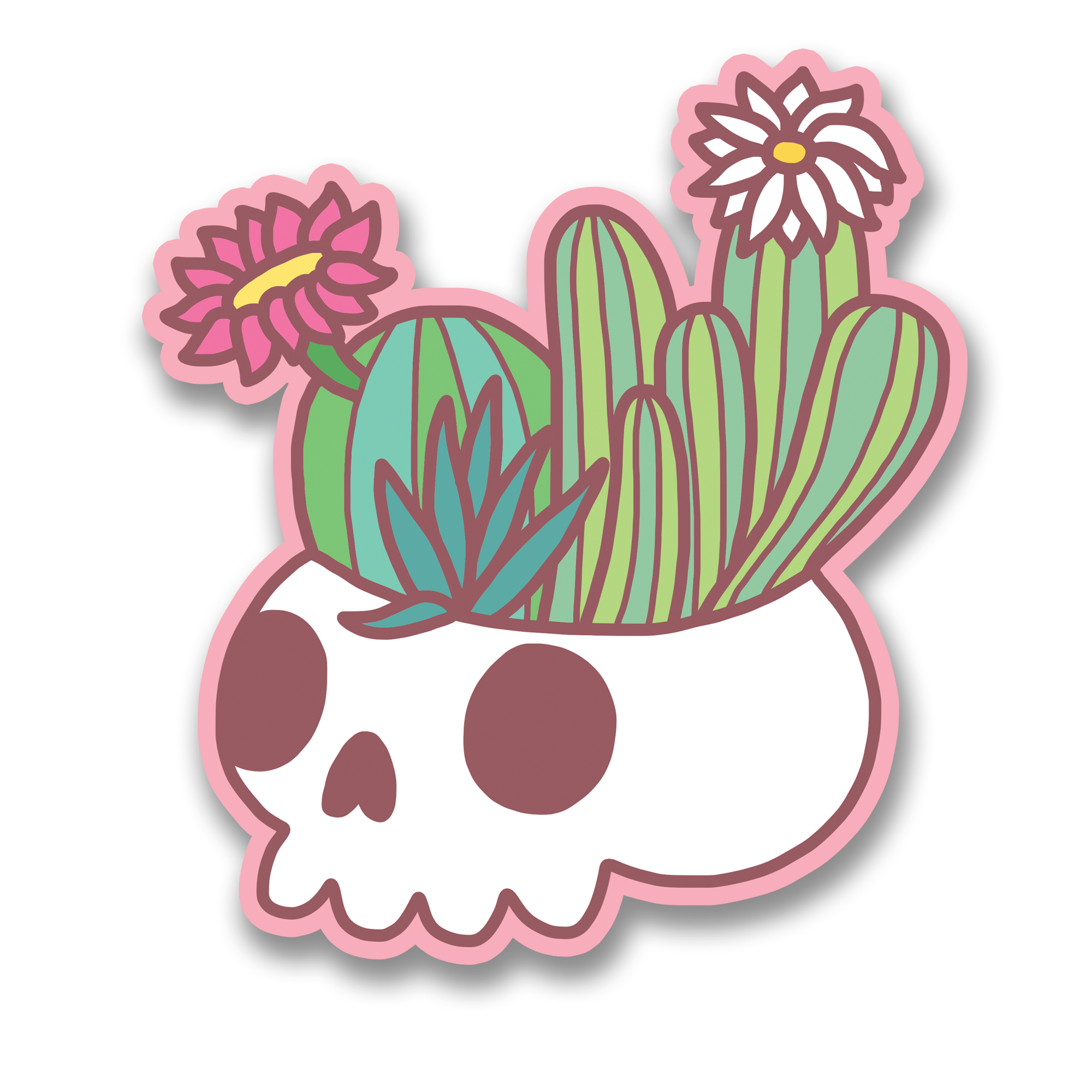 Flowering Cactus Skull Vinyl Sticker