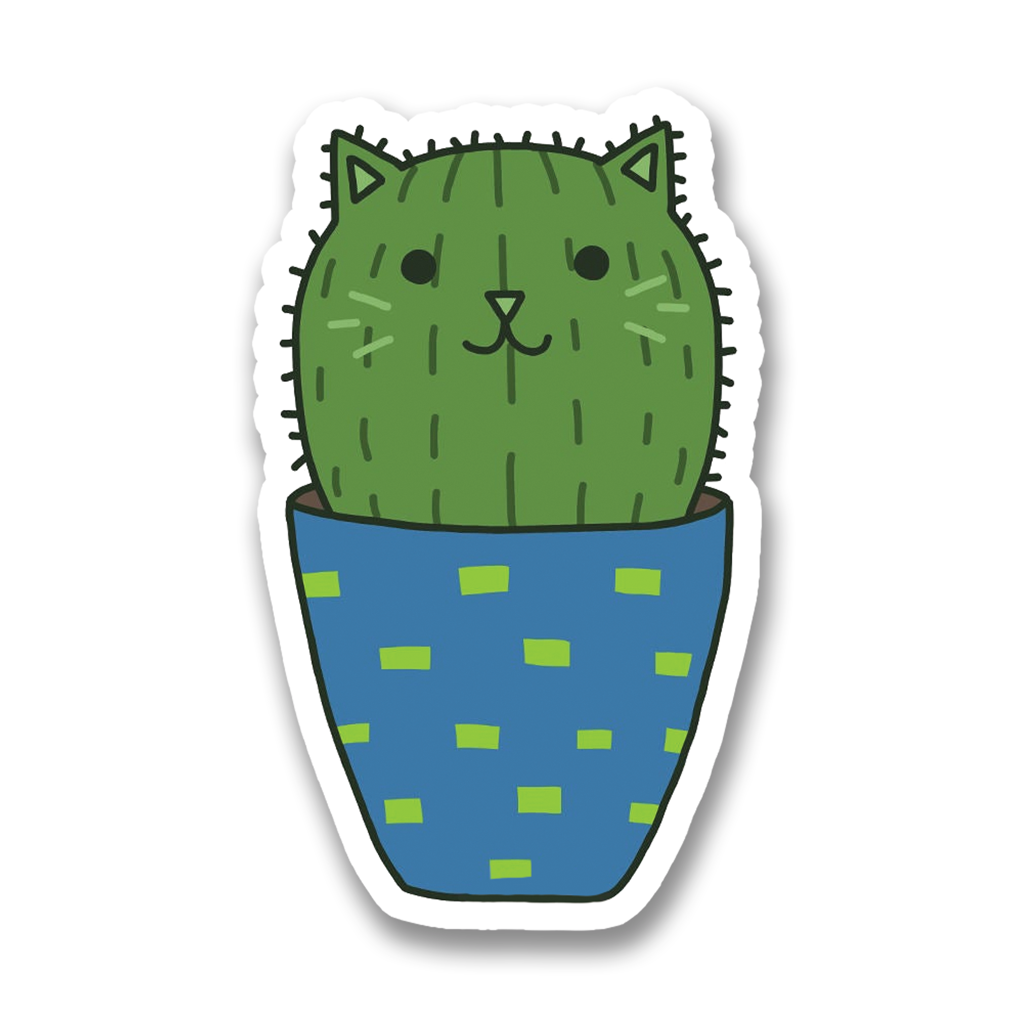 Barrel Cactus Cat Vinyl Sticker