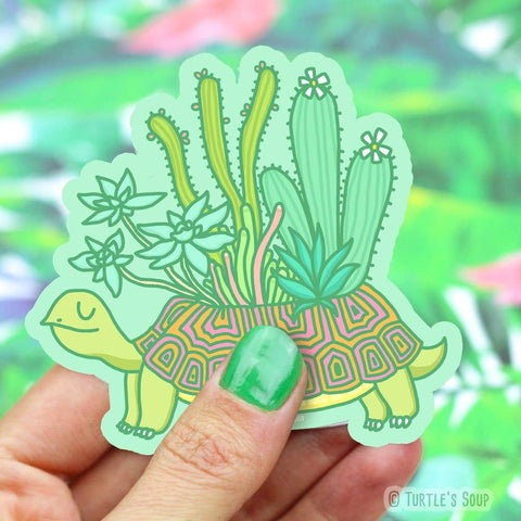 Succulent Turtle Vinyl Sticker