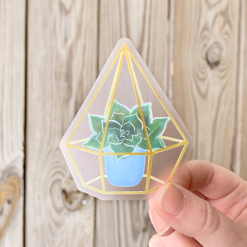 Watercolor Succulent Terrarium Sticker