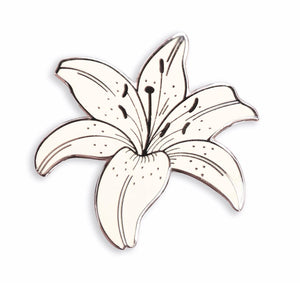 White Lily Enamel Pin