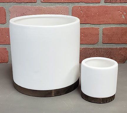 "6.5"" Matte White Cylinder with Wood Base"