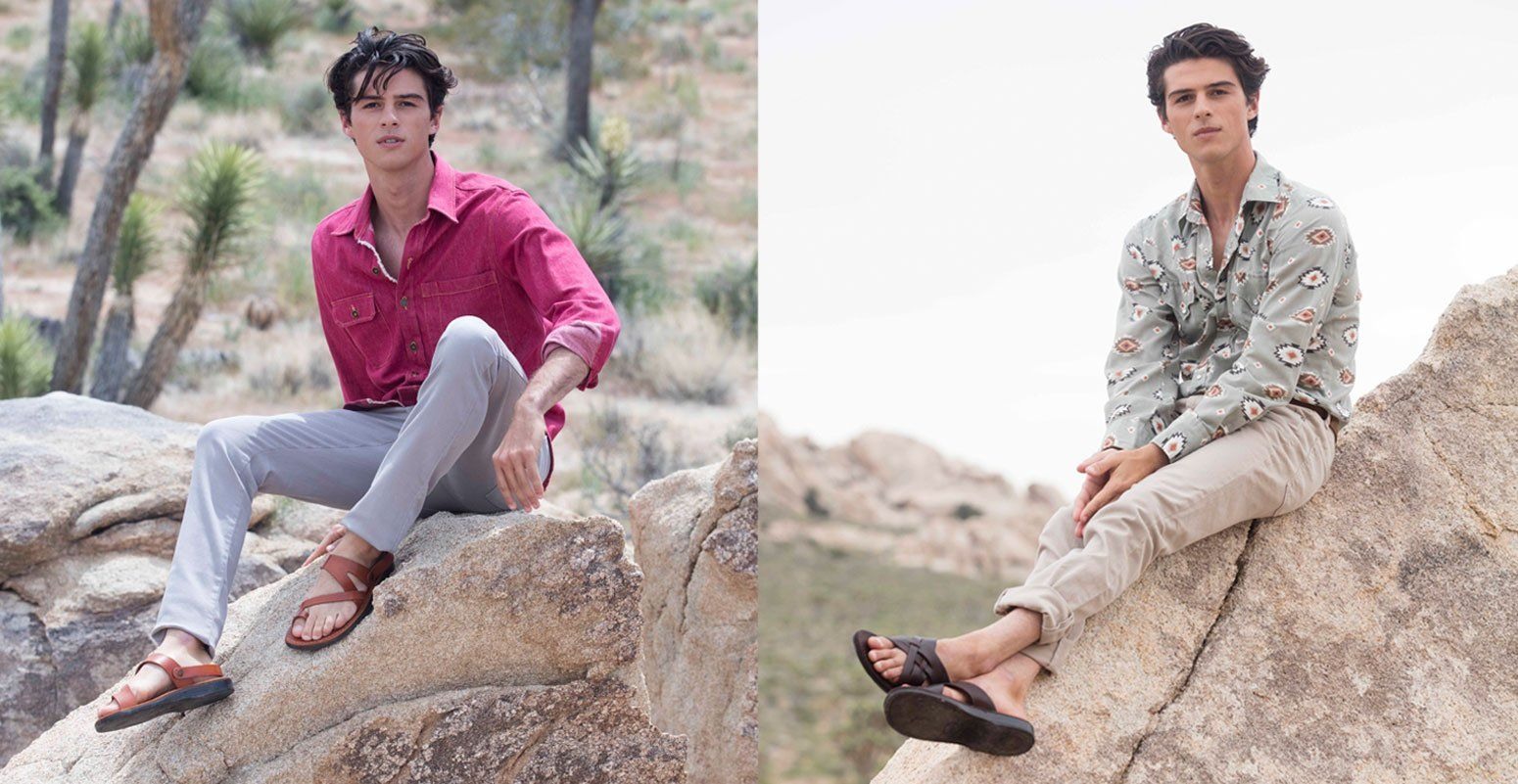 a male model wearing Jerusalem Sandals Benjamin in honey at Joshua tree park