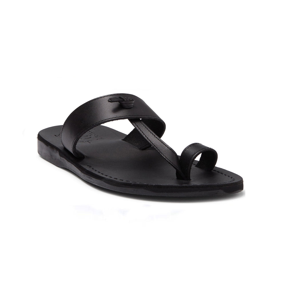 Nathan black, handmade leather slide sandals with toe loop - Front View
