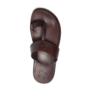 Nathan brown, handmade leather slide sandals with toe loop - Top View