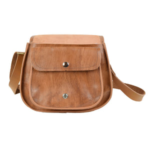Cross Body Purse brown, handmade leather bag - inside View