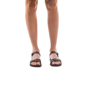 Model wearing Miriam brown sandals