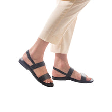 Load image into Gallery viewer, Ziv black, handmade leather sandals with back strap - Front View