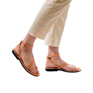Mara tan, handmade leather sandals with back strap and toe loop- Side View