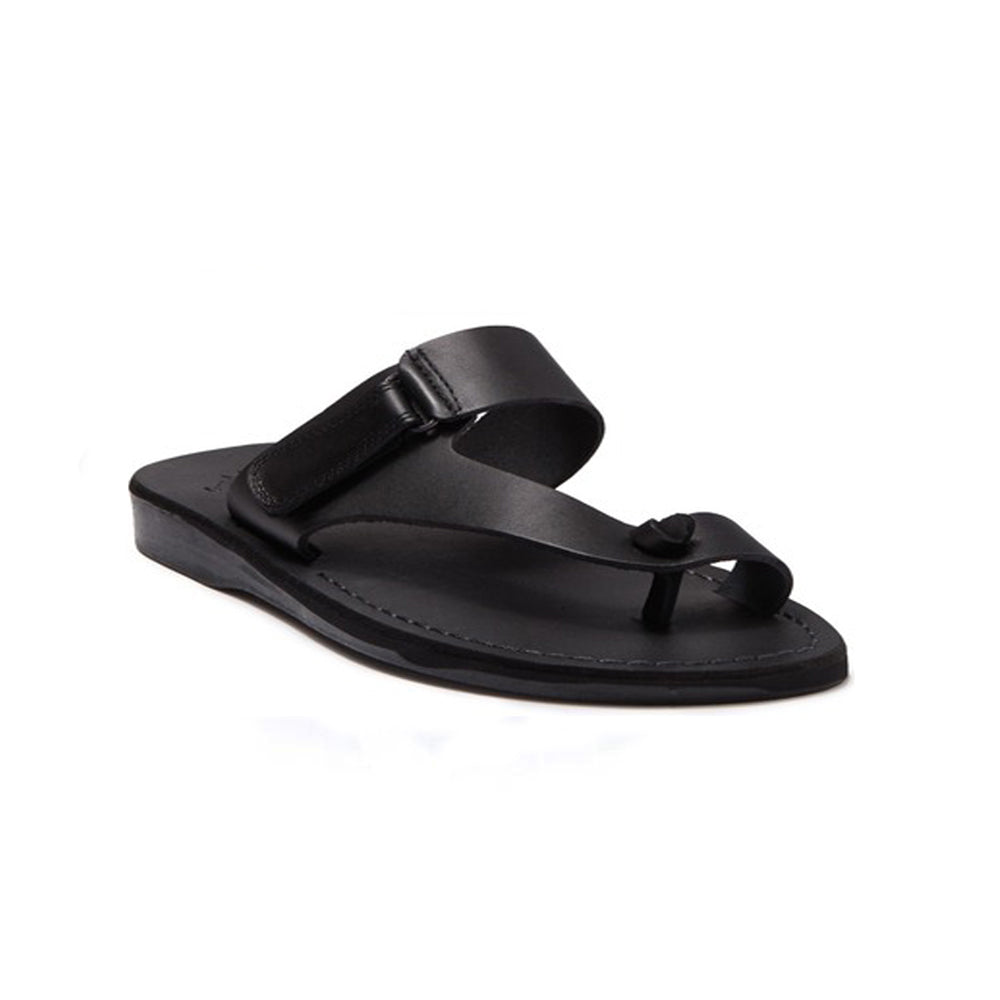 Rafael black, handmade leather slide sandals with side velcro and toe loop - Front View