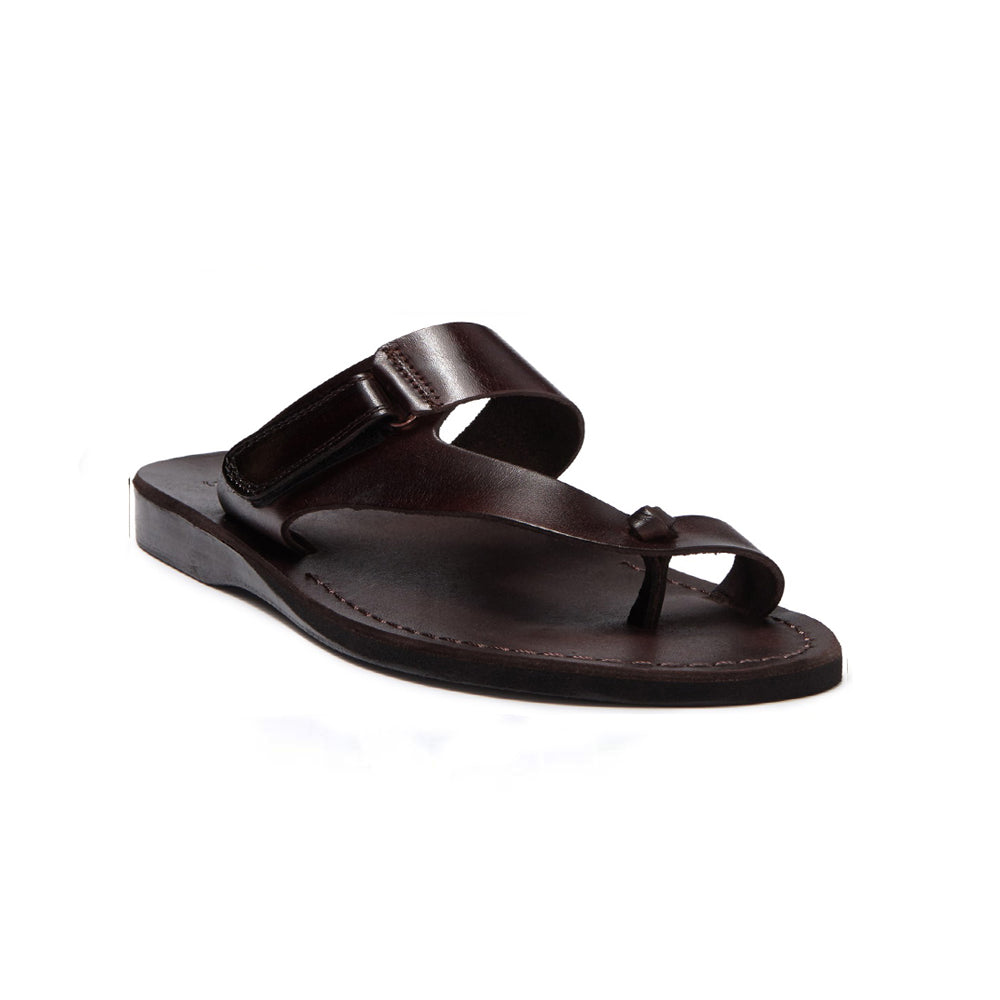 Rafael brown, handmade leather slide sandals with side velcro and toe loop - Front View