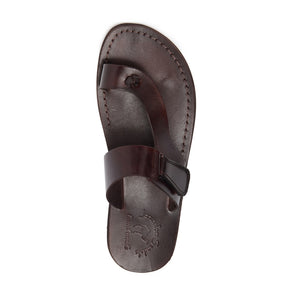Rafael brown, handmade leather slide sandals with side velcro and toe loop - Top View