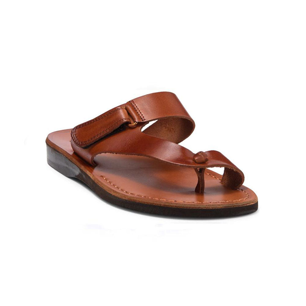 Rafael honey, handmade leather slide sandals with side velcro and toe loop - Front View