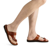 Load image into Gallery viewer, Rafael honey, handmade leather slide sandals with side velcro and toe loop - modek View