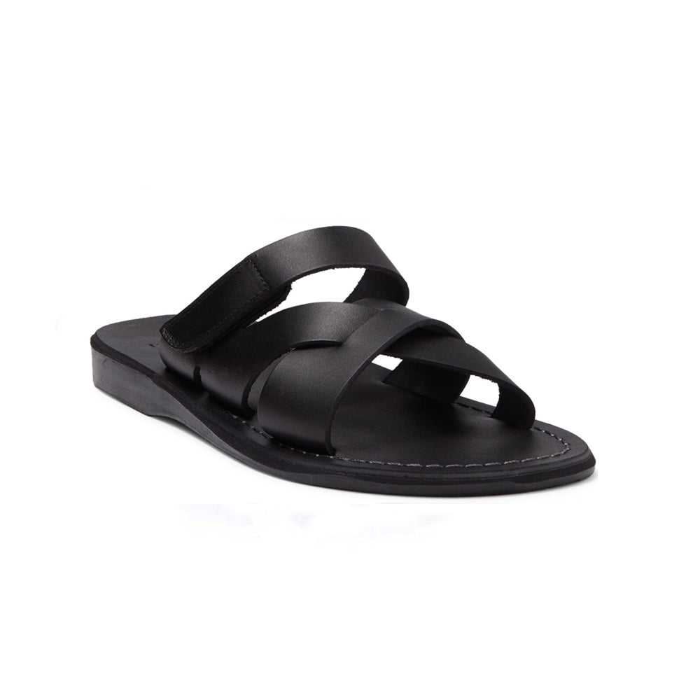 Rafael black, handmade leather slide sandals with side velcro strap - Front View