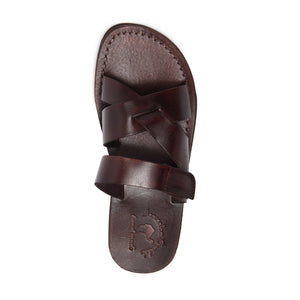 Rafael brown, handmade leather slide sandals with side velcro strap - Front View