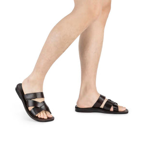 Rafael brown, handmade leather slide sandals with side velcro strap - Model View