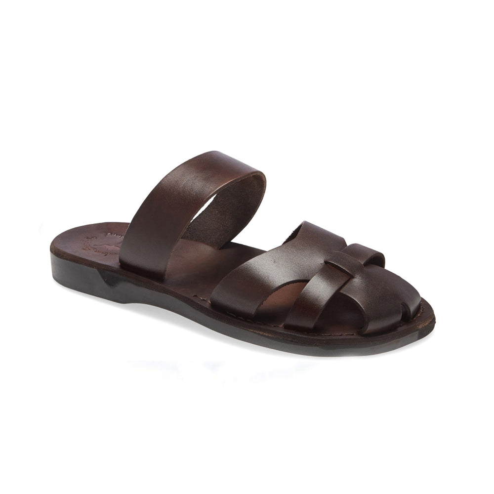 Adino brown, handmade leather sandals slide on with enclosed toes - front side view