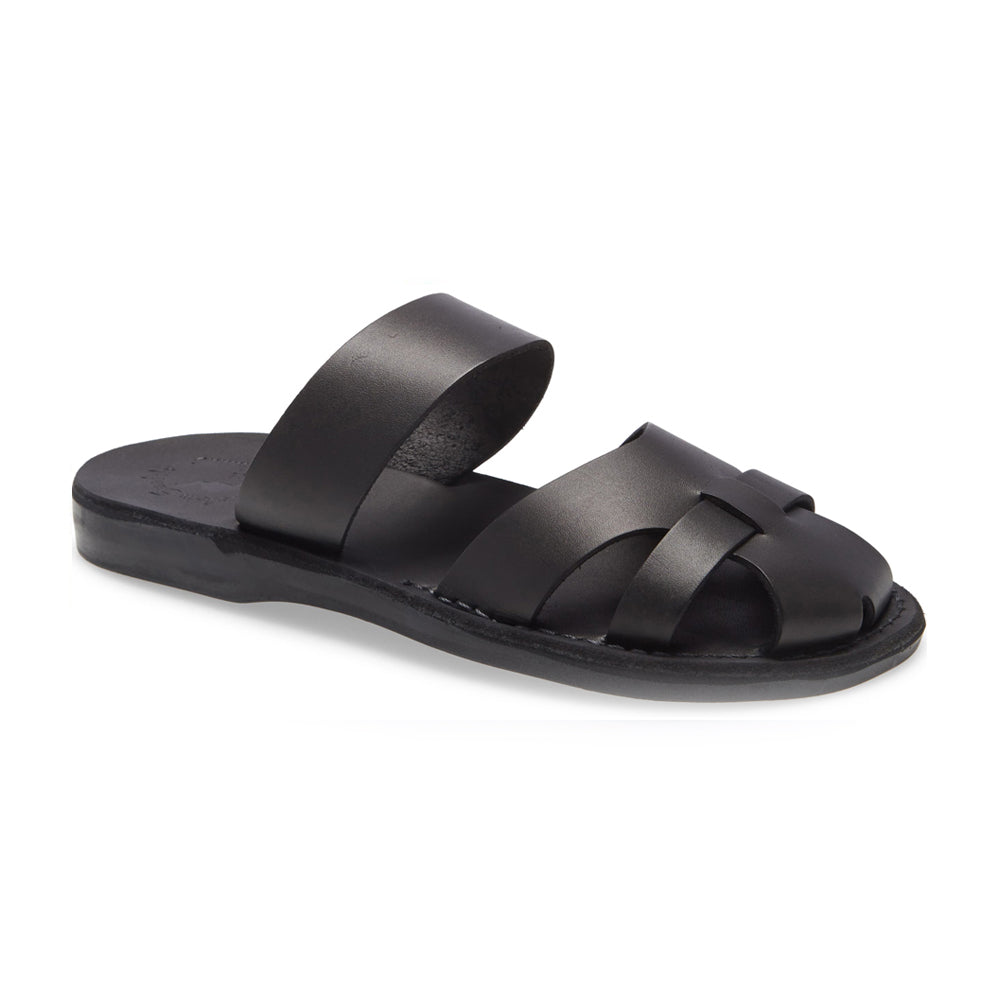 Adino black, handmade leather sandal slide with enclosed toes - front side view
