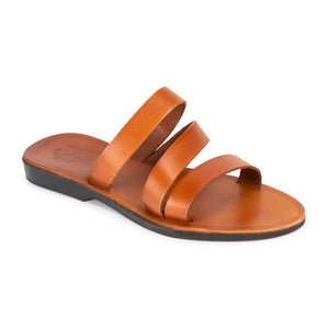 Mila honey, handmade leather slide sandals - Front View