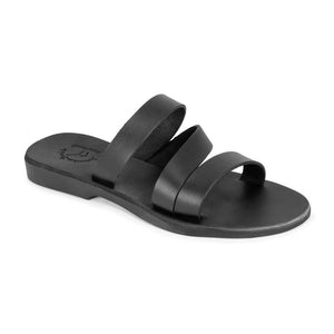 Mila black, handmade leather slide sandals - Front View