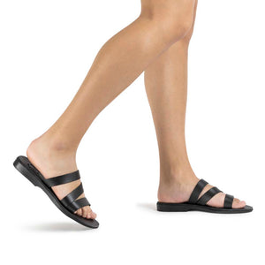 Mila black, handmade leather slide sandals - Model View
