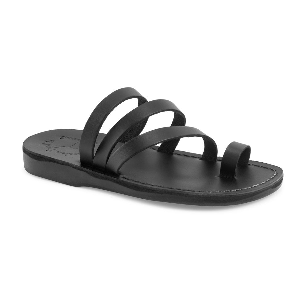 Nora black, handmade leather slide sandals with toe loop - Front View