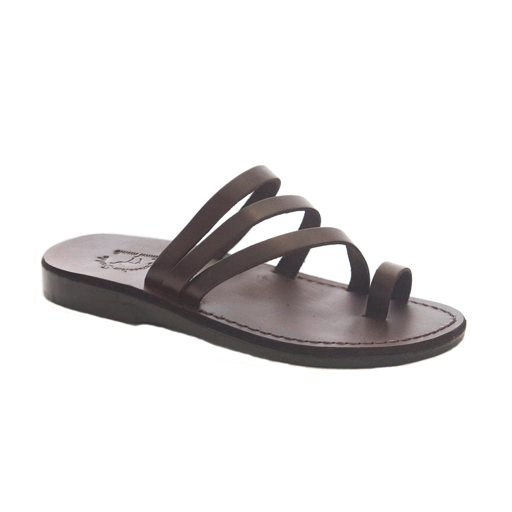 Nora brown, handmade leather slide sandals with toe loop - Front View